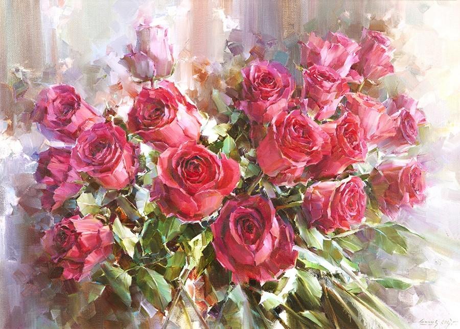Розы холст масло