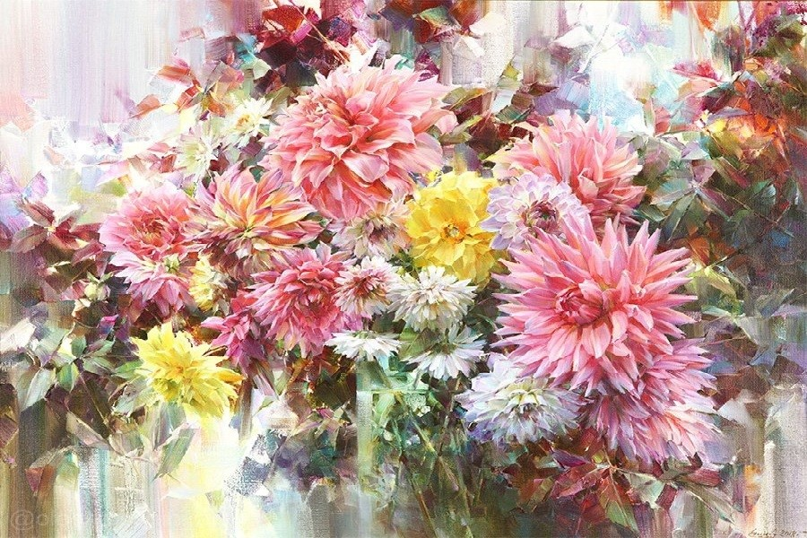 Цветы маслом на холсте